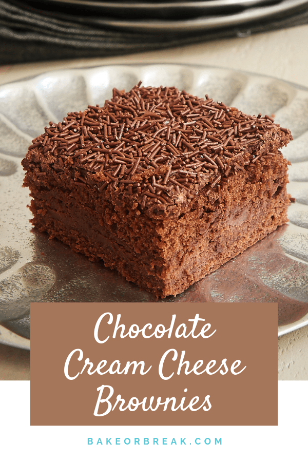 Chocolate Cream Cheese Brownies have SO many layers of chocolate. These are a must for big-time chocolate lovers! - Bake or Break #brownies #chocolate