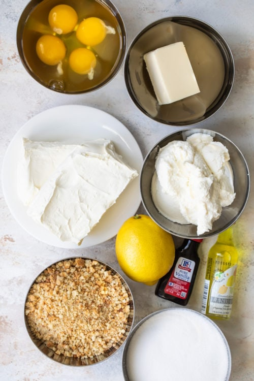 ingredients for Limoncello Cheesecake Squares