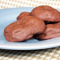 Chocolate Caramel Pocket Cookies on a blue plate