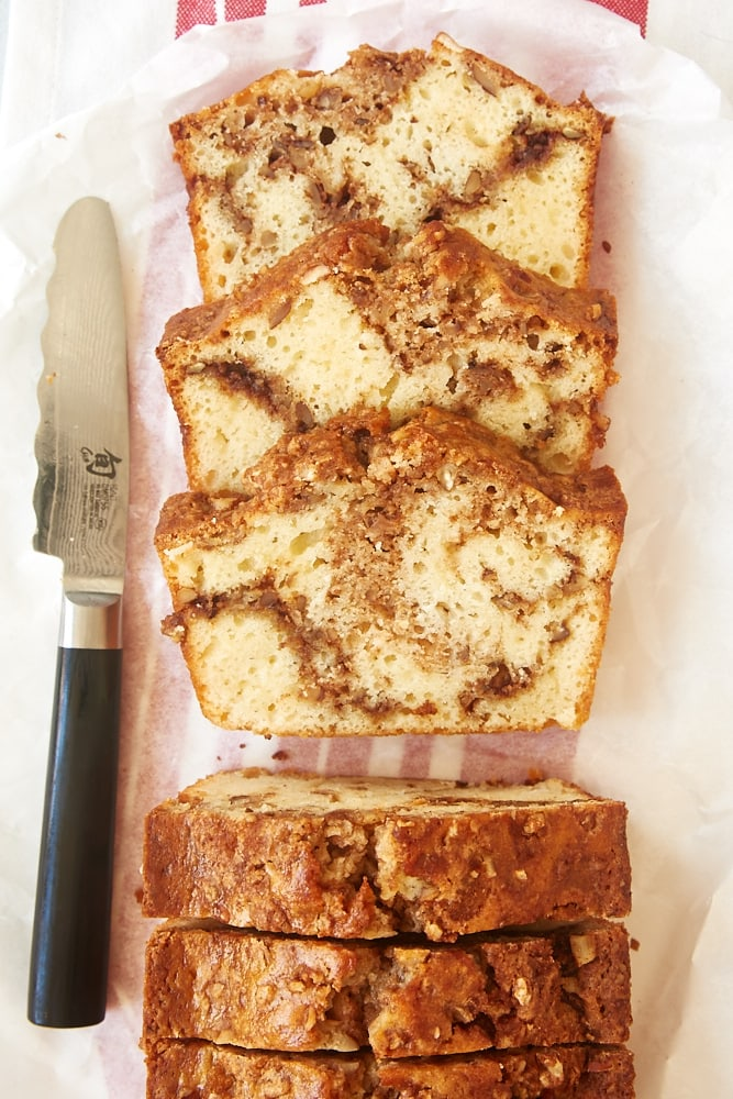 slices of Cinnamon Swirl Bread on white parchment paper