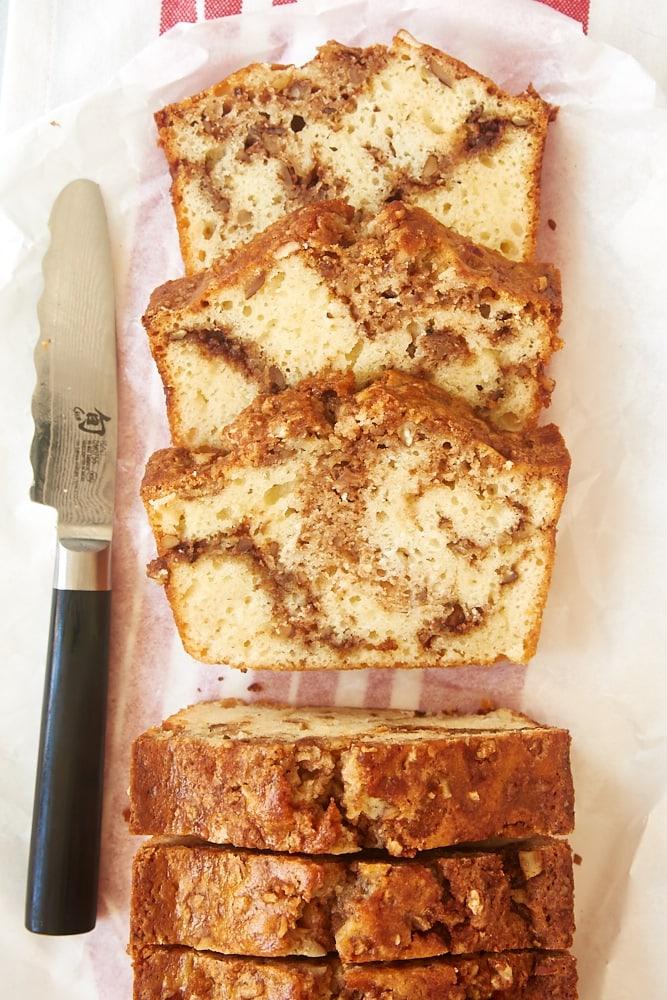 slices of Cinnamon Swirl Bread on white parchment paper