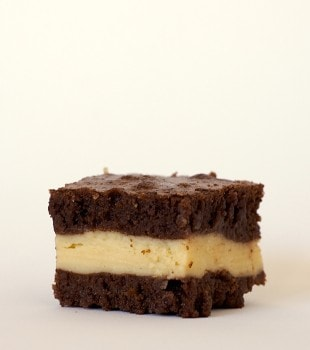 an Irish Cream Brownie on a white surface