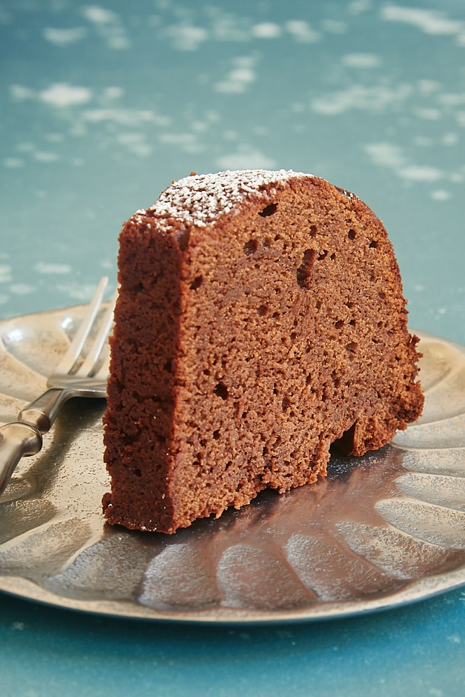 slice of Buttermilk Mexican Chocolate Pound Cake