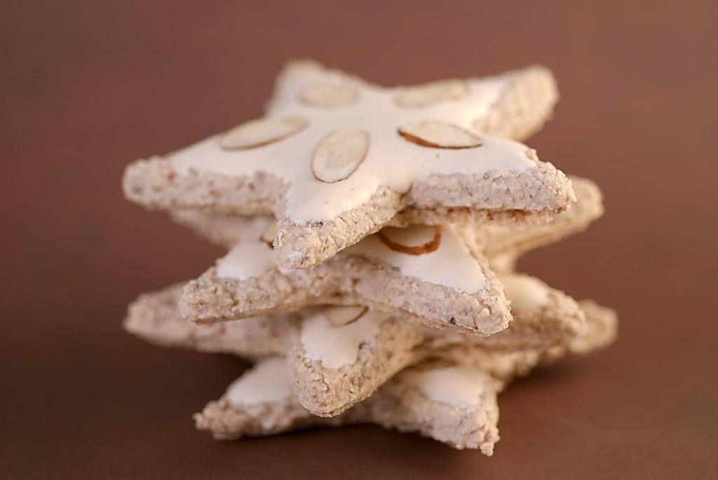 stack of four Zimtsterne (Cinnamon Stars)