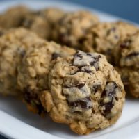 Dark Chocolate Chunk and Dried Cherry Oatmeal Cookies on a white plate