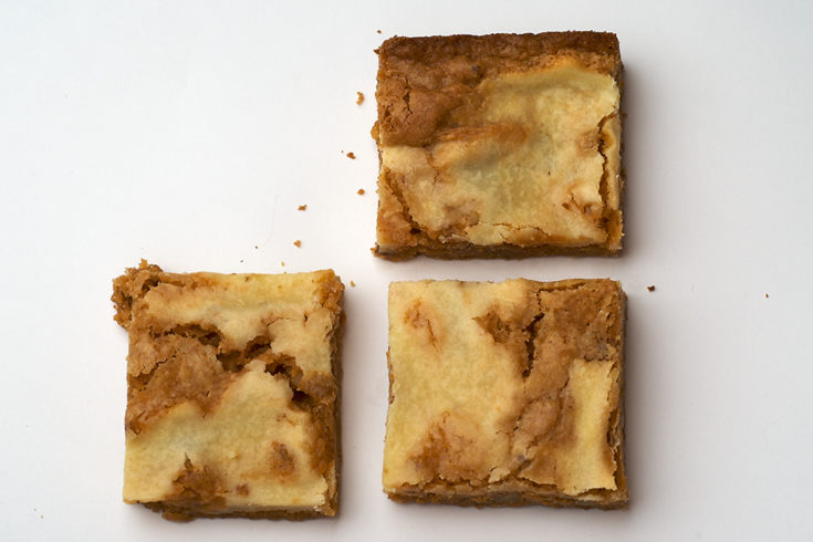 Rich butterscotch and sweet cream cheese are a perfect combination in these Butterscotch Cream Cheese Swirl Bars.