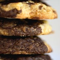 stack of Marbled Chocolate Chip Oatmeal Cookies
