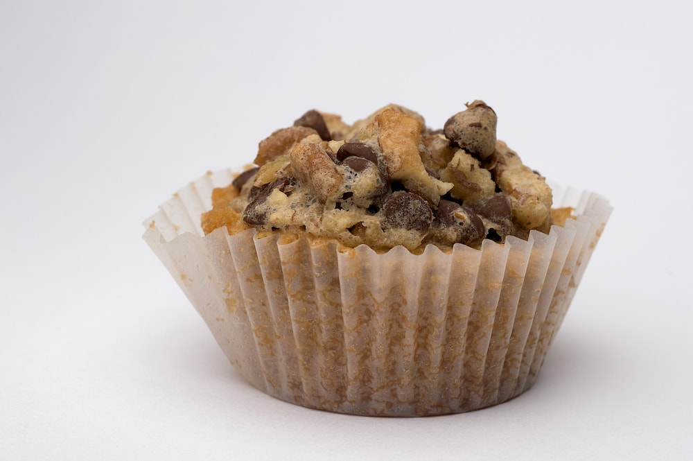 Chocolate Chip Cupcake on a white surface