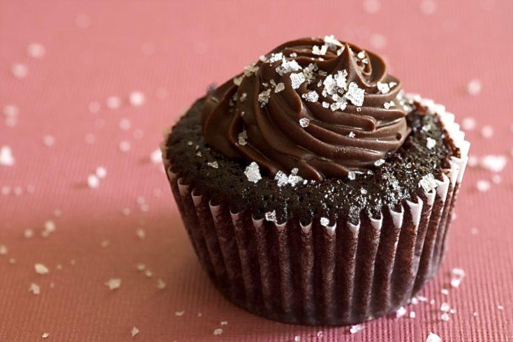 Chocolate Salted Caramel Mini Cupcake on a pink surface
