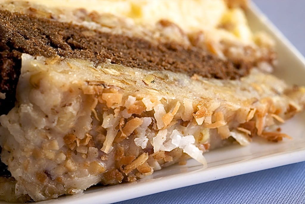 German Chocolate Cheesecake combines German chocolate cake with cheesecake for a delicious and beautiful dessert! - Bake or Break