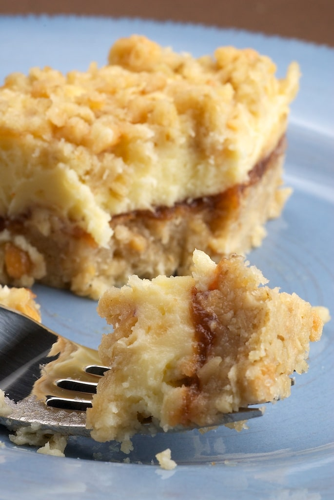 Cream Cheese and Oat Bars combine oats, apple butter, and cream cheese for a delicious layered dessert. - Bake or Break