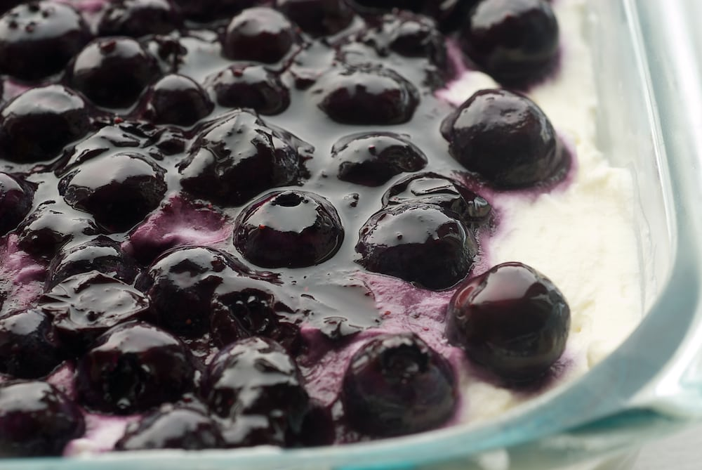 Blueberry Jamboree is a cool and delicious dessert that combines fresh blueberries, cream cheese, and a nutty crust. - Bake or Break