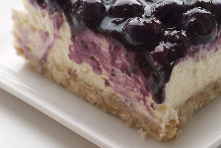 slice of Blueberry Jamboree on a square white plate