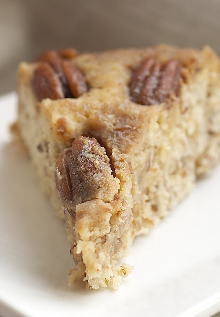 Pecan Upside-Down Cake packs a big, nutty, caramel flavor punch in a simple one-layer cake! - Bake or Break