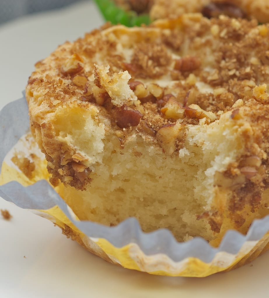 Sour Cream Coffee Cake Muffins are so light and delicate. A delicious breakfast treat! - Bake or Break