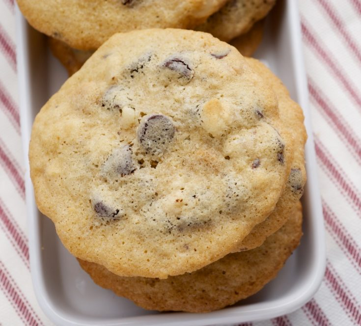 Chocolate Macadamia Peanut Butter Chip Cookies are packed with all kinds of good things. They're sweet, nutty, and irresistible! - Bake or Break