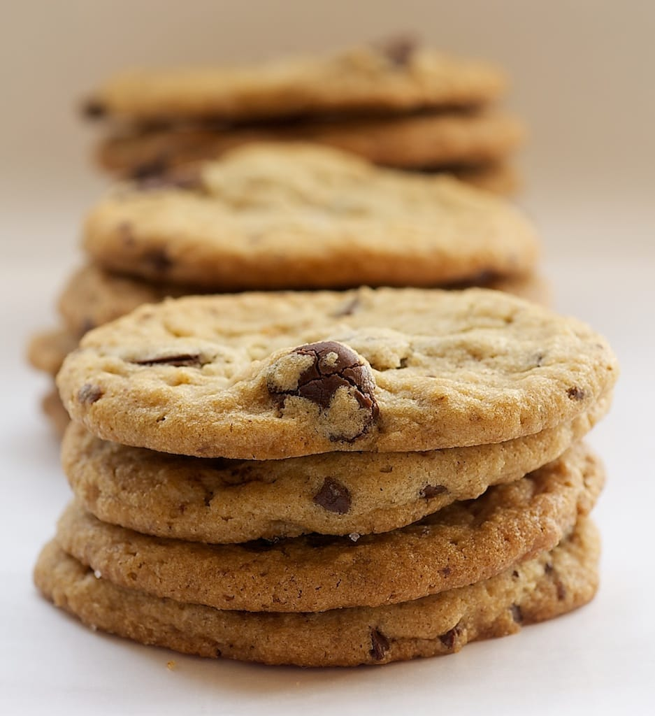 stacks of Peanut Butter Cookies with Milk Chocolate Chunks