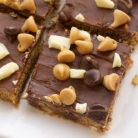 Peanut Butter Mud Bars on a white plate