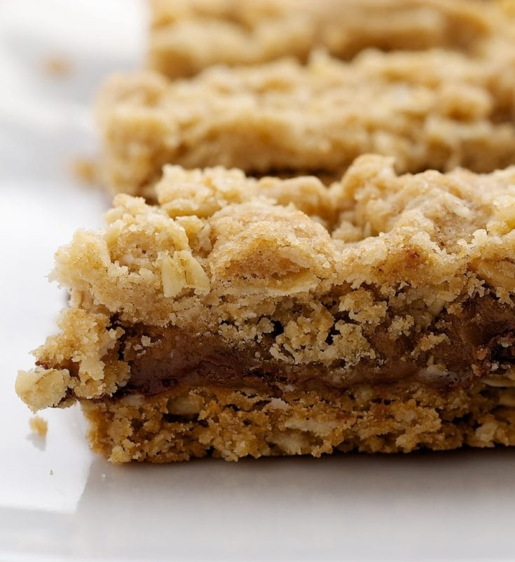Caramel Oatmeal Bars on a white plate