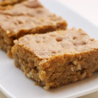 Brown Sugar Cashew Blondies on a small white tray