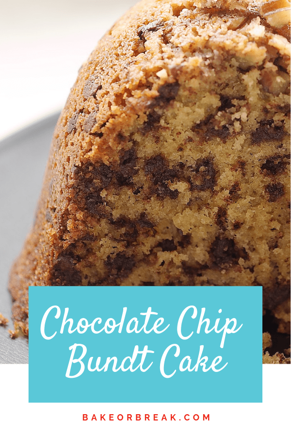 Chocolate Chip Bundt Cake is a delicious combination of brown sugar, chocolate, and nuts. This one is always a winner! - Bake or Break #cake #bundtcake #chocolatechips