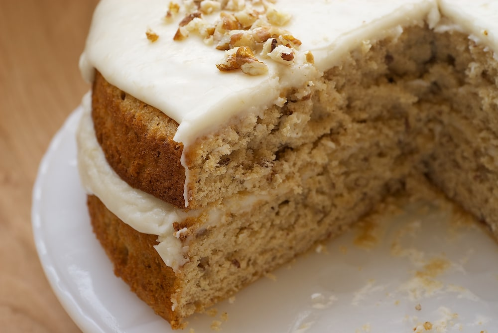 sliced Pecan Layer Cake with Banana Icing