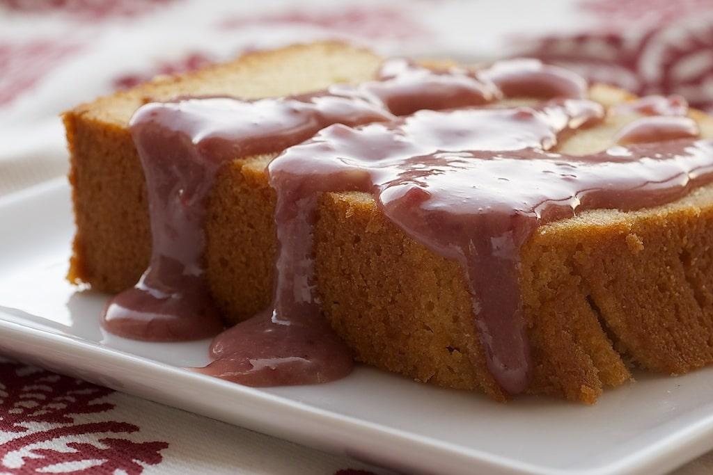 Cream Cheese Pound Cake with Strawberry-White Chocolate Sauce | Bake or Break
