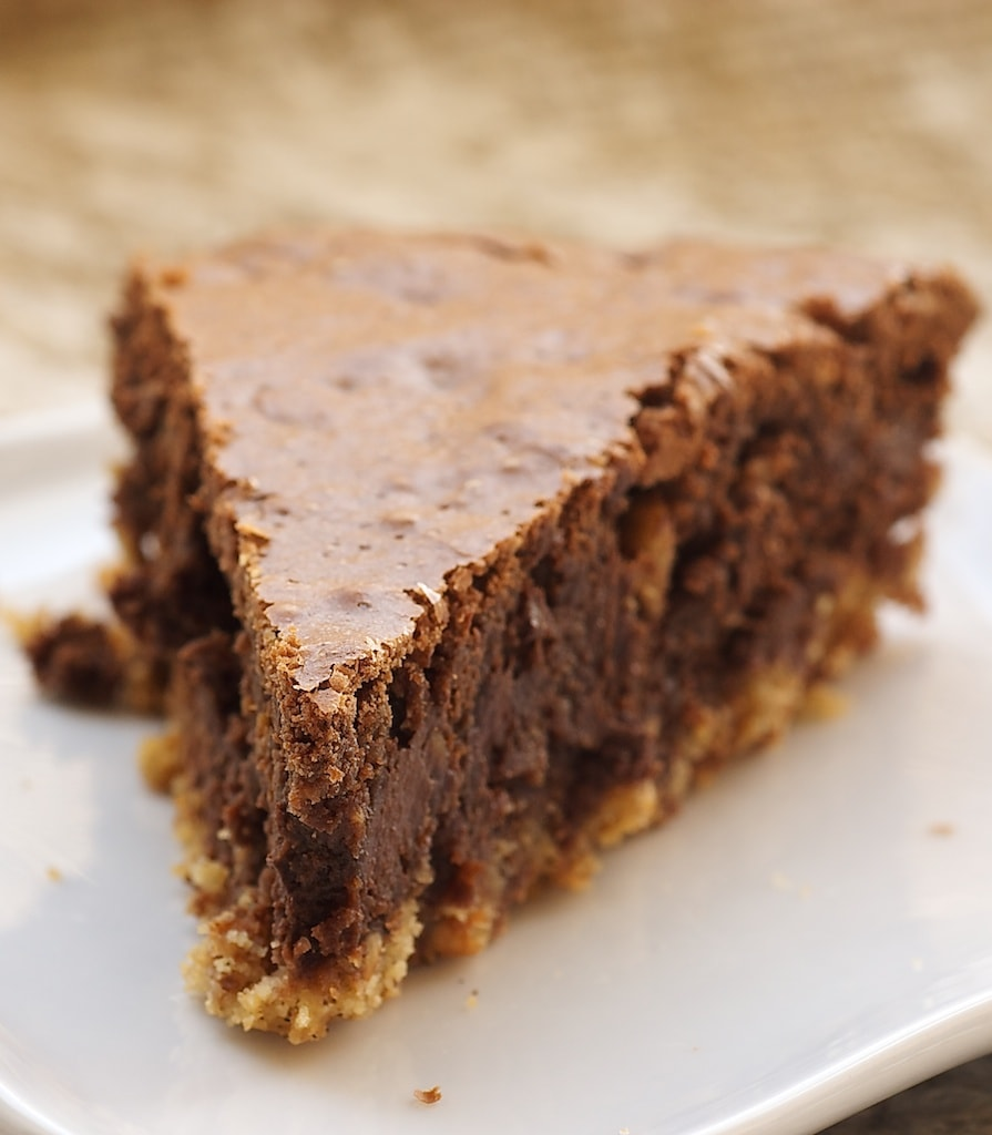 slice of Hazelnut Brownie Tart