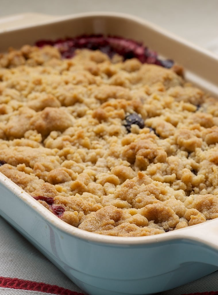 Mixed Berry Cobbler in a blue baker