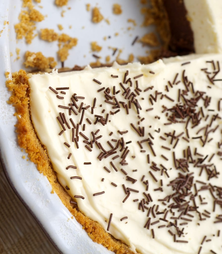 overhead view of Chocolate Cookie Dough No-Bake Cheesecake in a pie plate