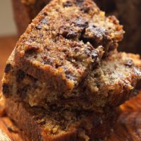 Add a little dark chocolate to your next banana bread with Chocolate Chunk Banana Bread from Bake or Break.