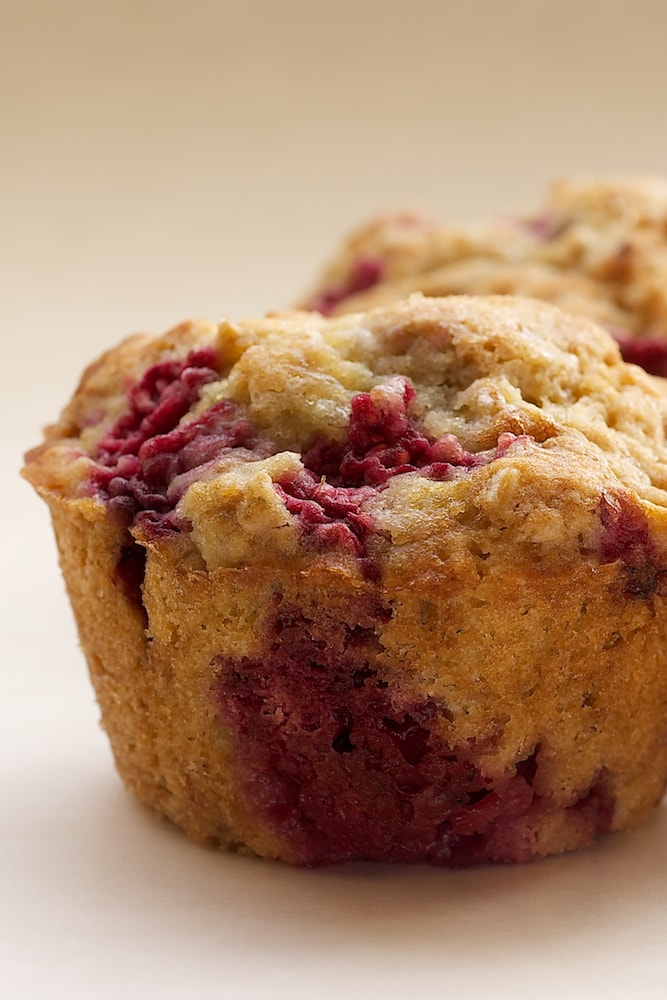 Raspberry Oat Muffins are sweet, chewy muffins with big flavor! - Bake or Break