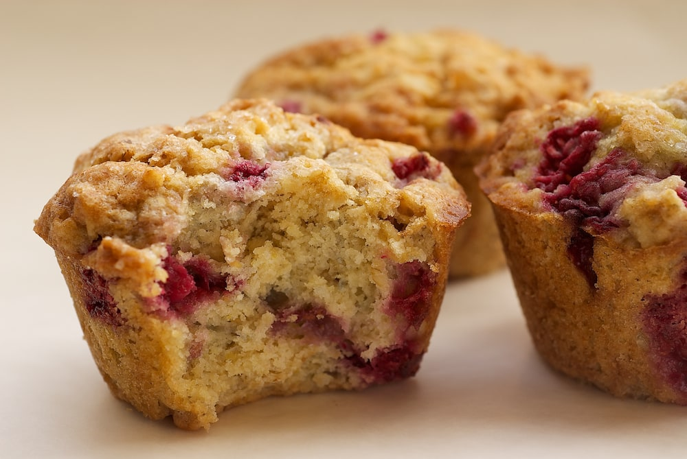 Oats and raspberries are a perfect pair in these Raspberry Oat Muffins.