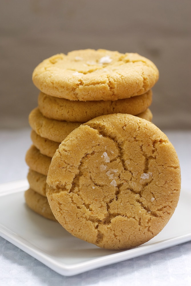 stack of Browned Butter Salty Sugar Cookies