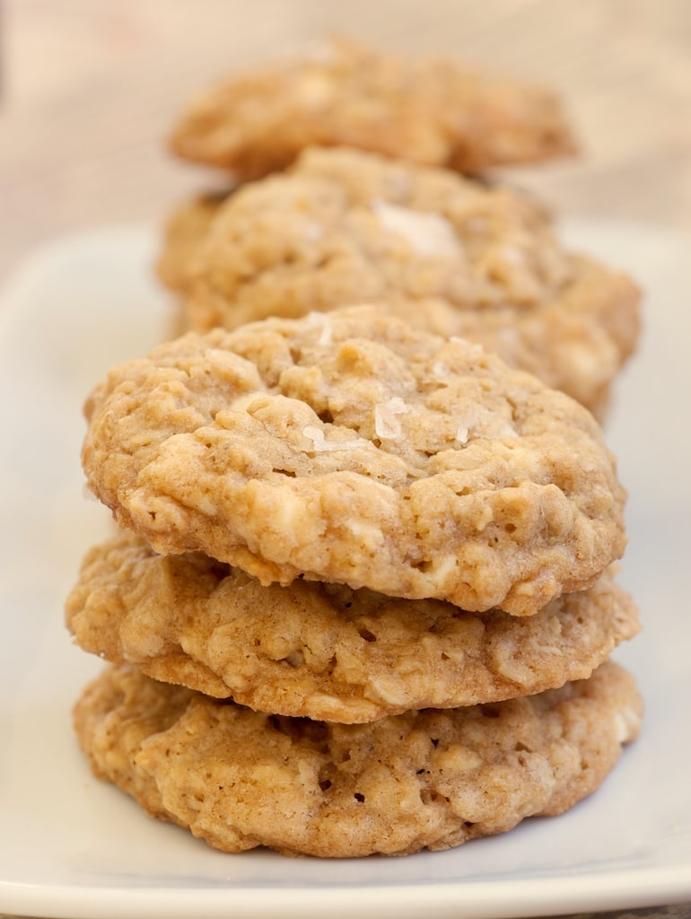stacks of Salted Vanilla Chip Oatmeal Cookies