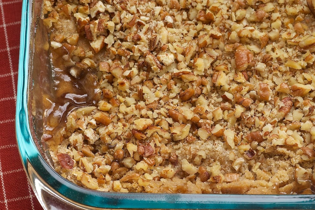 Apple Pecan Cobbler features plenty of sweet, spiced apple pie filling underneath a crunchy, nutty topping. - Bake or Break
