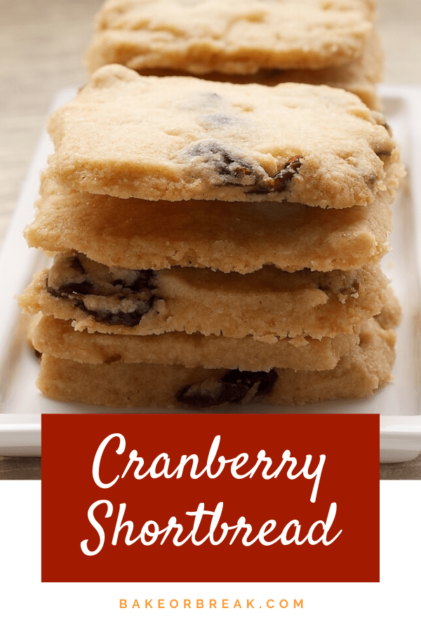 Cranberry Shortbread are simple, delicious cookies made with just a handful of ingredients. - Bake or Break #cookies #shortbread #cranberry