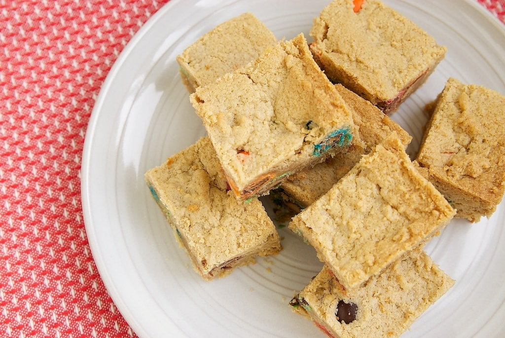 These Peanut Butter Cookie Bars are so simple and yummy. They're versatile, too. Just stir in your favorite add-ins!