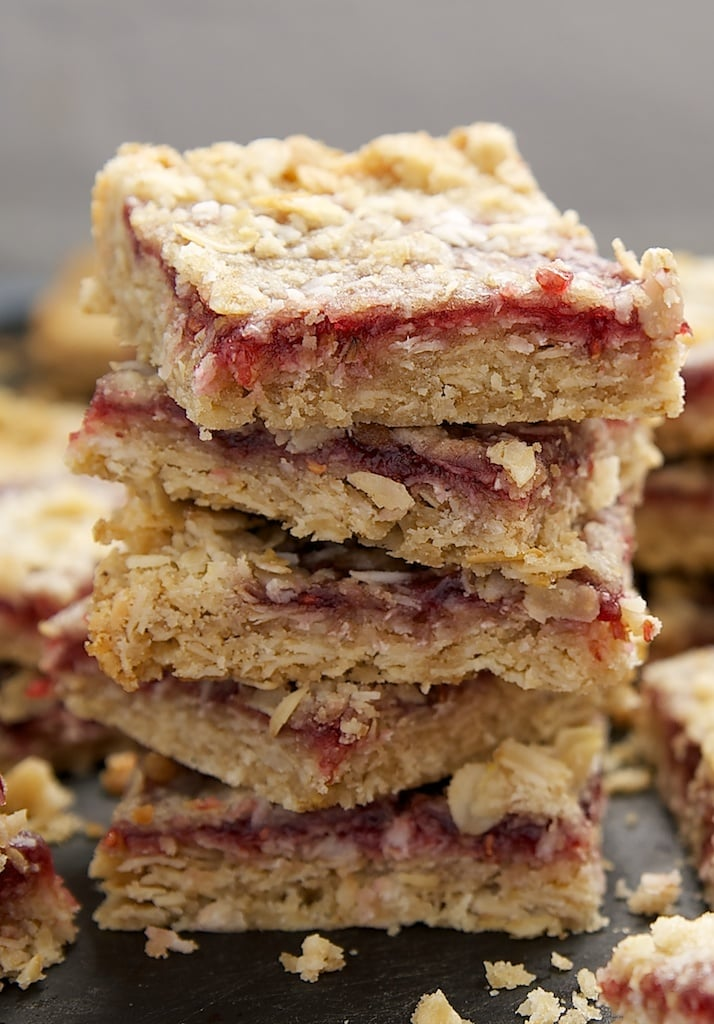 stack of Raspberry Coconut Oat Bars