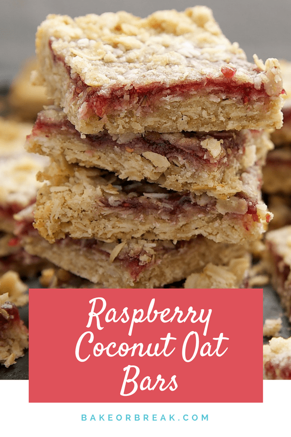 Raspberry Coconut Oat Bars take raspberry bars to delicious new heights with coconut and oats in the crust and crumb. Absolutely irresistible! - Bake or Break #raspberry #coconut