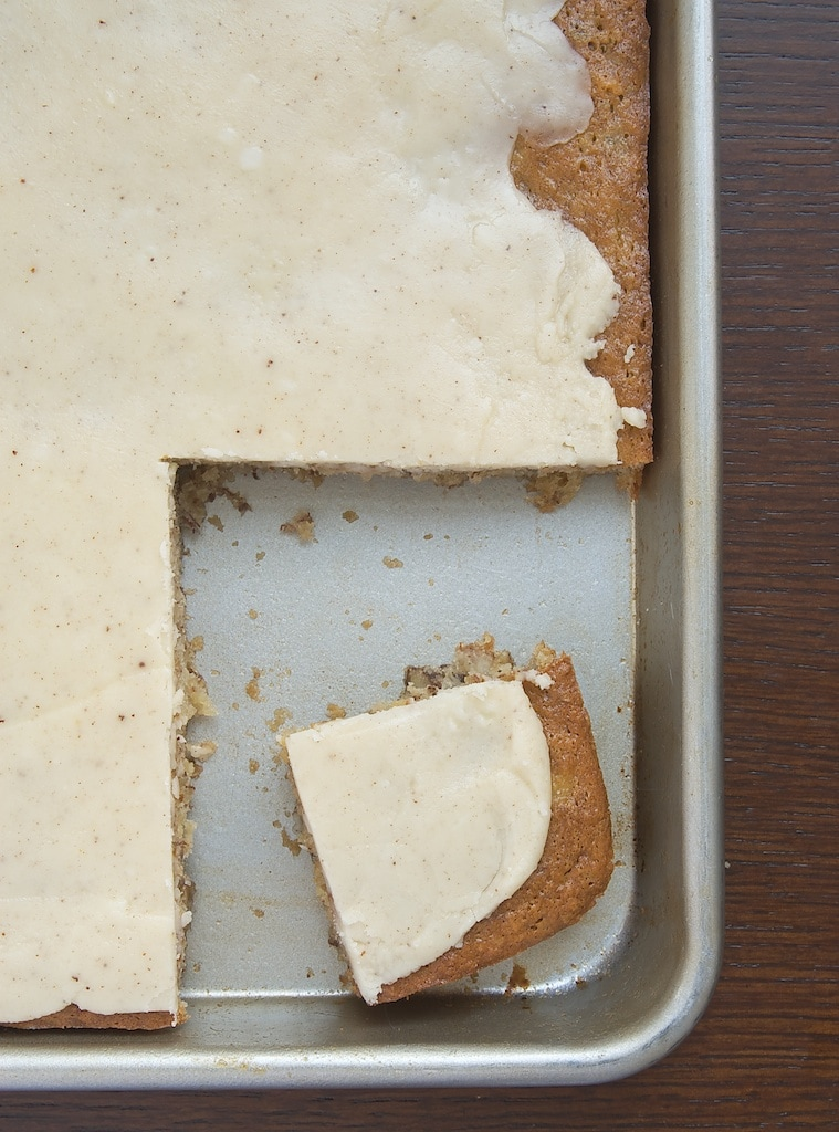 overhead view of Banana Bars with Browned Butter Icing in a half sheet pan