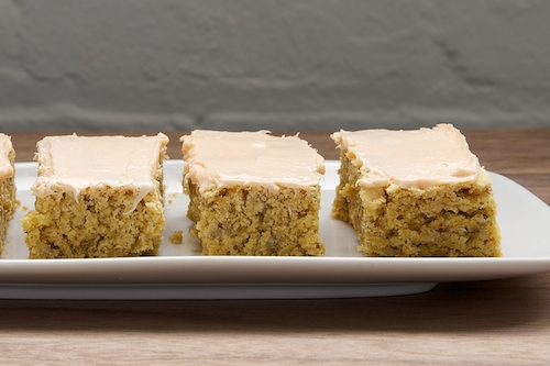 Oatmeal Cookie Bars with Peaches and Creme Frosting | Bake or Break
