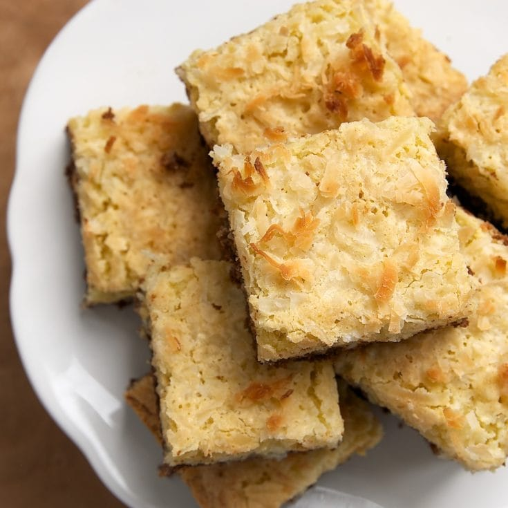 Coconut Bars with Chocolate Shortbread Crust served on a plate