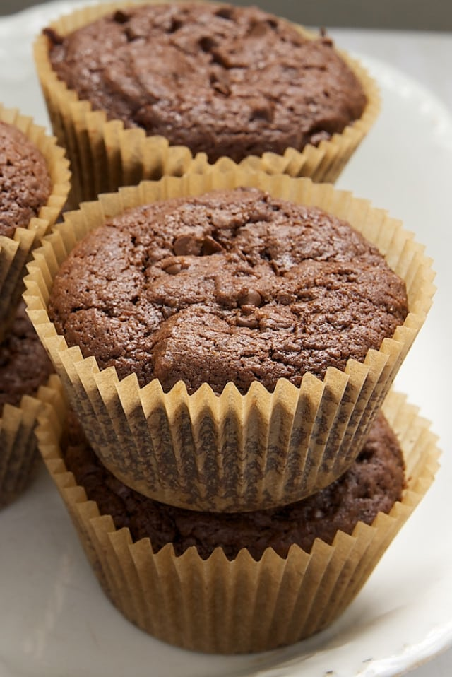 stack of Mocha Muffins on a white plate
