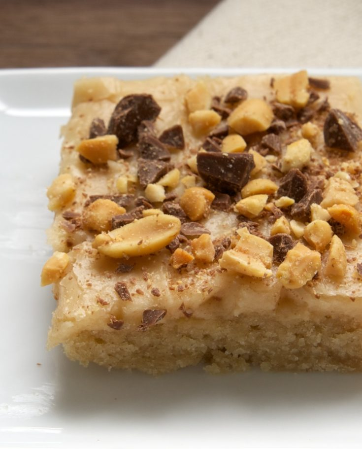Peanut Butter Texas Sheet Cake topped with peanuts and chocolate