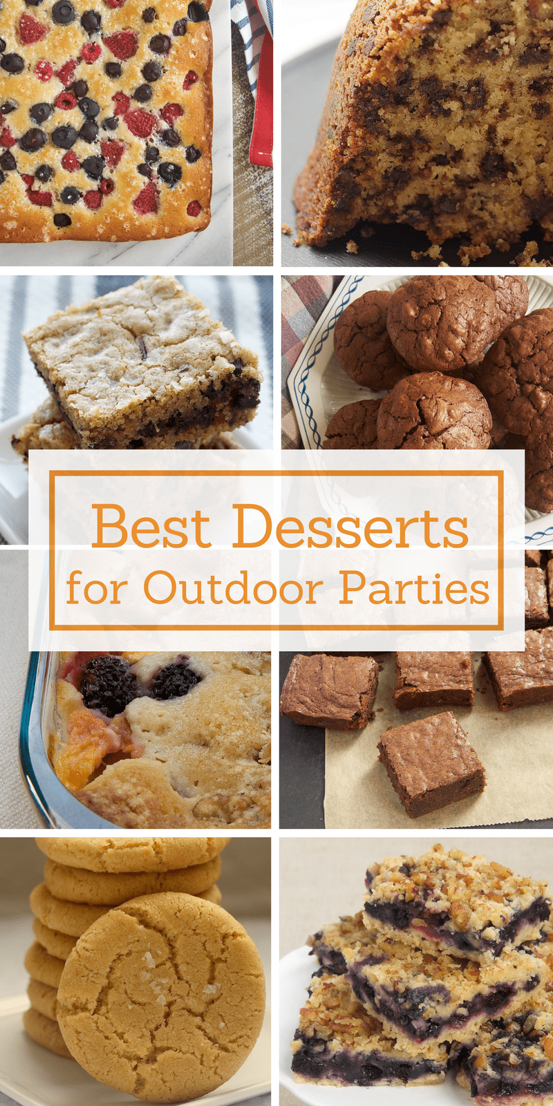 collection of desserts for outdoor parties, picnics, barbecues, and more