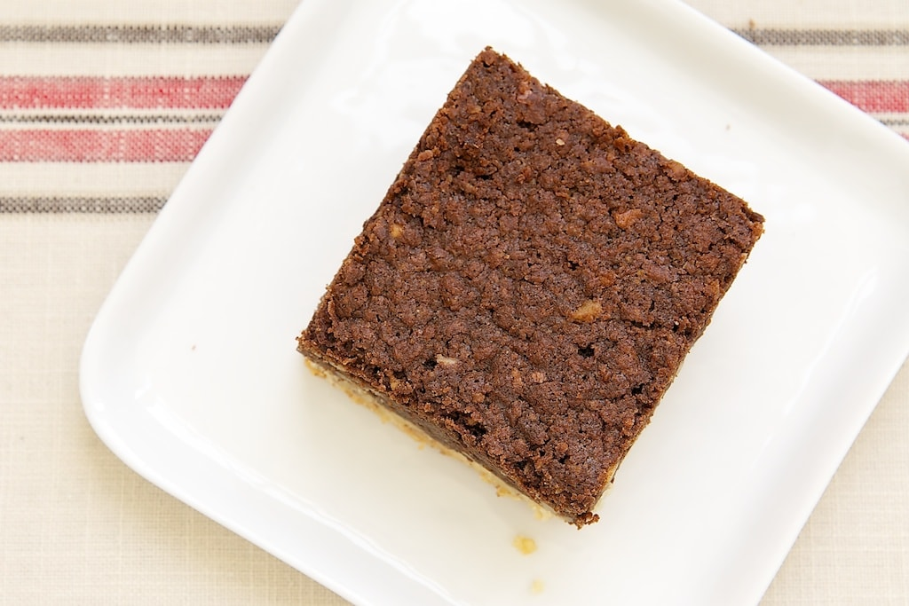 Pecan Shortbread Brownies feature dark, rich brownies on top of a nutty shortbread crust. - Bake or Break