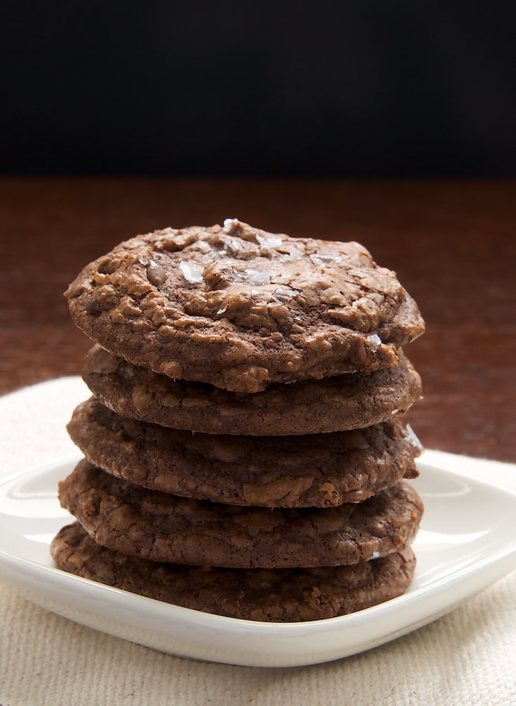 stack of Salted Chocolate Truffle Cookies