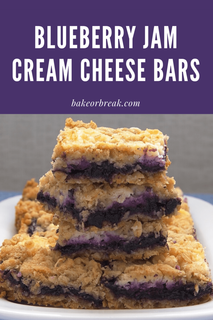 Blueberry Jam-Cream Cheese Bars combine a buttery oat crust, sweet cream cheese, and blueberry preserves for a delectable treat. - Bake or Break #blueberry #creamcheese