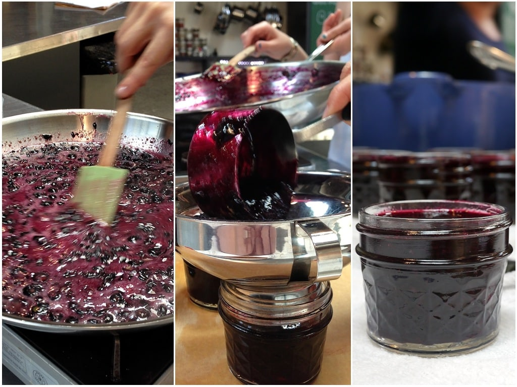collage of photos showing the jam making process